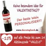 -15% auf alle personalisierbaren Flaschen bis zum Valentinstag